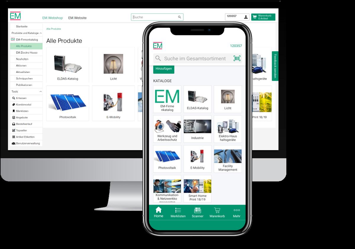 Screenshot EM.Webshop auf Desktop und EM.App auf Mobile