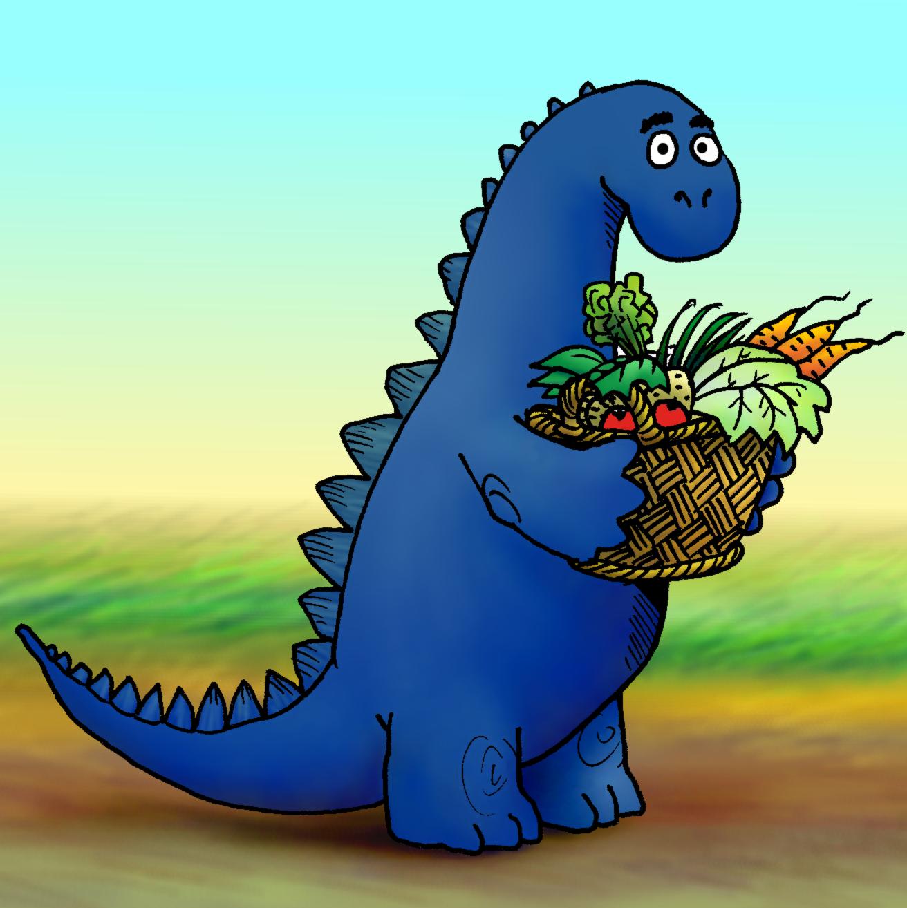 Blauer Dino mit Gemüsekorb
